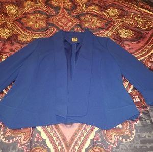 Anne Klein Royal Blue Quarter 3/4 Sleeve Blazer- L
